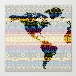 Tribal World Map - Western Hemisphere Canvas Print