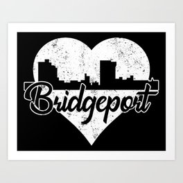 Retro Bridgeport Connecticut Skyline Heart Distressed Art Print