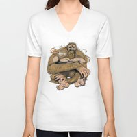 sasquatch V-neck T-shirts featuring Sasquatch by Gregery Miller