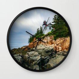 Bass Harbor Lighthouse Color Long Exposure Print Wall Clock