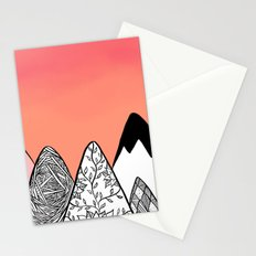 Modern abstract pink coral watercolor sky black white geometric floral mountains illustration Stationery Cards