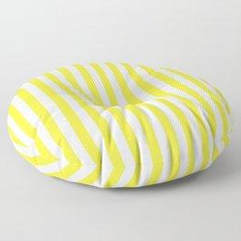 Summer Yellow and White Cabana Stripe Floor Pillow