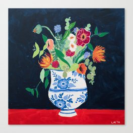 Bouquet of Flowers in Blue and White Urn on Navy Canvas Print