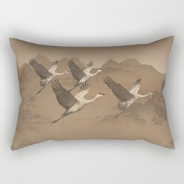 Cranes Flying Over Mongolia Rectangular Pillow