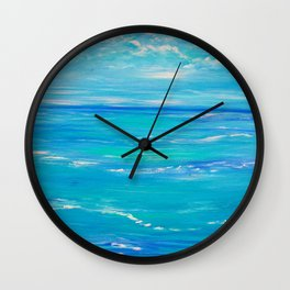 abstract ocean, teal blue, ocean painting, Caribbean Breeze Wall Clock