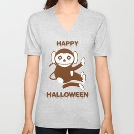 Dead Monkey Happy Halloween Unisex V-Neck