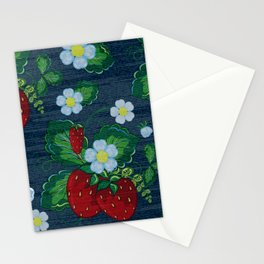 Strawberries and Daisies - Strawberry Patch  - Fruit Stationery Cards