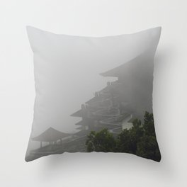 Foggy Temple Throw Pillow