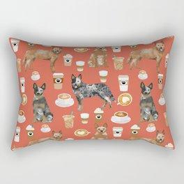 Australian Cattle Dog coffee pet friendly dog breed dog pattern art Rectangular Pillow