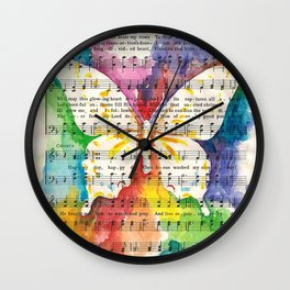 O Happy Day  Butterfly Watercolor on Sheet Music Wall Clock