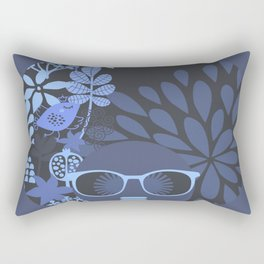 Afro Diva Muted Blues & Periwinkle Rectangular Pillow