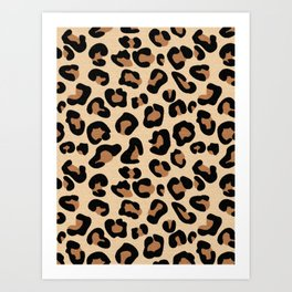Leopard Print, Black, Brown, Rust and Tan Art Print