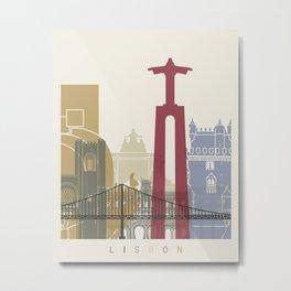 Lisbon skyline poster Metal Print