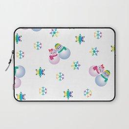 Snowflakes & Pair Snowman_F Laptop Sleeve