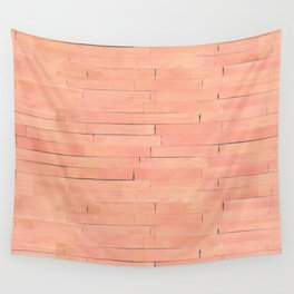 Peach Wooden Planks Wall Wall Tapestry