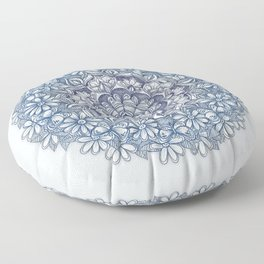 Indigo Medallion with Butterflies & Daisy Chains Floor Pillow