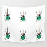 beetle Wall Tapestries featuring Beetle by Rocío Gómez