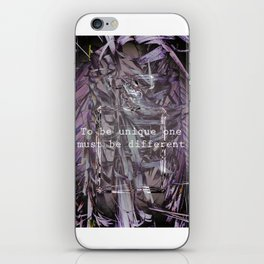 TO BE UNIQUE ONE MUST BE DIFFERENT iPhone Skin
