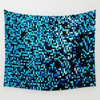 pixel Wall Tapestries featuring Turquoise Blue Aqua Black Pixels by 2sweet4words Designs
