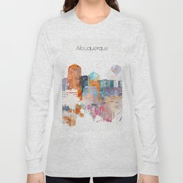 Colorful Albuquerque watercolor skyline Long Sleeve T-shirt
