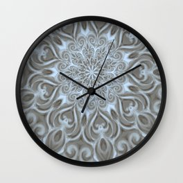 Light Blue Center Swirl Mandala Wall Clock