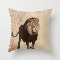 decal Throw Pillows featuring Lion by haroulita