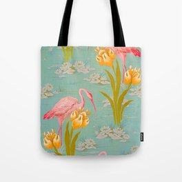 Papier peint - Isidore Leroy - 1905 Flamingo Pond Floral Pastel Pattern Tote Bag