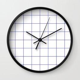 Graph Paper (Navy Blue & White Pattern) Wall Clock