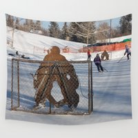 hockey Wall Tapestries featuring Outdoor hockey rink by RMK Creative