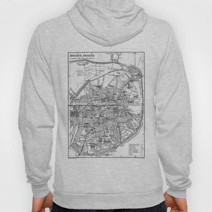 Vintage Map of Bruges (1905) BW Hoody