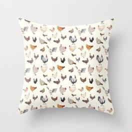 Chicken Happy on Cream Background Throw Pillow