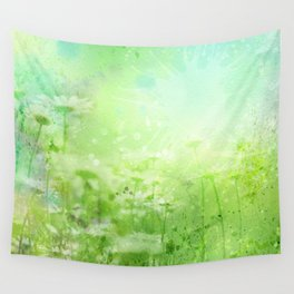Green Watercolor Floral Wall Tapestry