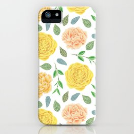 Hand painted yellow coral watercolor modern floral iPhone Case
