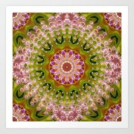 Hot Pink Green Energy Mandala Art Print
