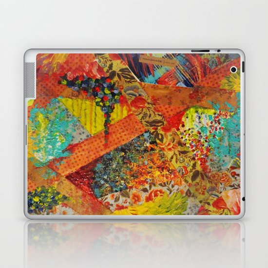 Pieces of Me - Gorgeous Bold Fabric Painting Collage Love Colorful Rainbow Yellow Red Stripes Floral Laptop & iPad Skin