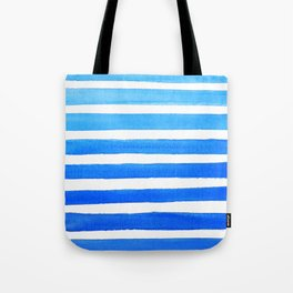 Blue Watercolor Stripes Tote Bag