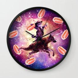 Cowboy Space Cat On Hyena Unicorn - Hot Dog Wall Clock