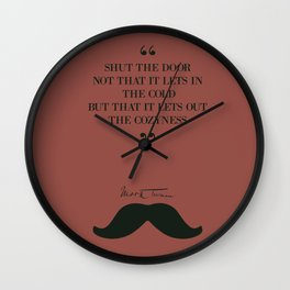 Mark Twain funny quote illustration on Cozyness Wall Clock
