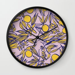 Orange Blossoms on Lavender Wall Clock
