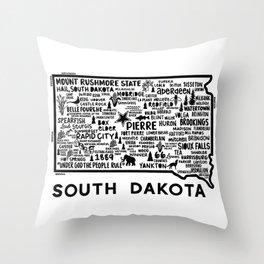 South Dakota Map  Throw Pillow