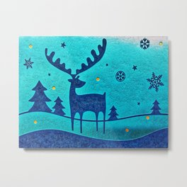 Capri Winter Reindeer Metal Print