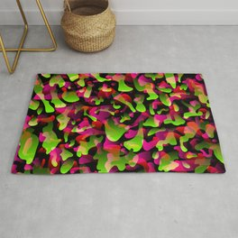 Flowing bright on from spots and splashes of pink paints. Rug