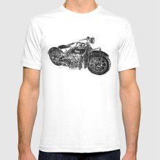 Vintage Indian Motorcycle MEDIUM White Mens Fitted Tee