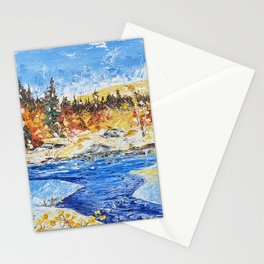 Landscape painting- The clear water River - by LiliFlore Stationery Cards