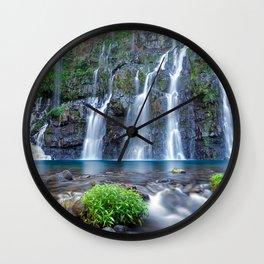 Reunion Waterfalls rock lake beautiful waterfall Reunion Island Wall Clock