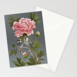 Sparrows and Peony Stationery Cards