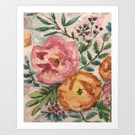 pink and orange flowers Art Print