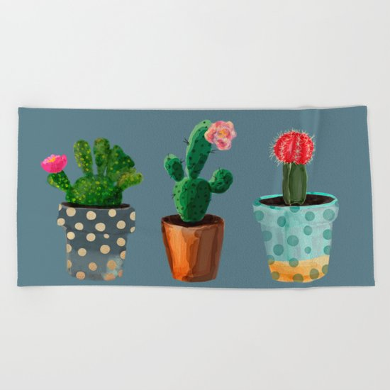 Three Cacti With Flowers On Blue Background Beach Towel