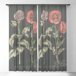 Carnation & Poppy on Charcoal Sheer Curtain