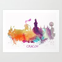 poland Art Prints featuring Cracow Poland skyline by jbjart